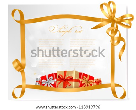Holiday background with gold gift bow with gift boxes. Vector - stock vector