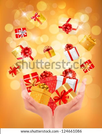 Holiday background with hands holding gift boxes. Concept of giving presents. Vector illustration. - stock vector