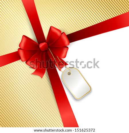 Holiday background with red bow and ribbon - stock vector
