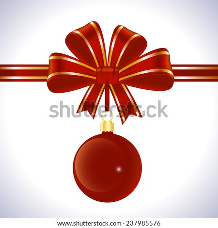 Holiday background with red bow and ribbon with Christmas decorations - stock vector