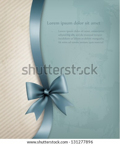 Holiday background with red gift bow and ribbon on old paper. Vector illustration. - stock vector