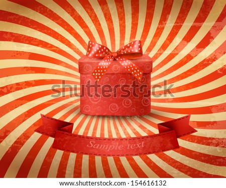Holiday background with red gift ribbon with gift box Vector