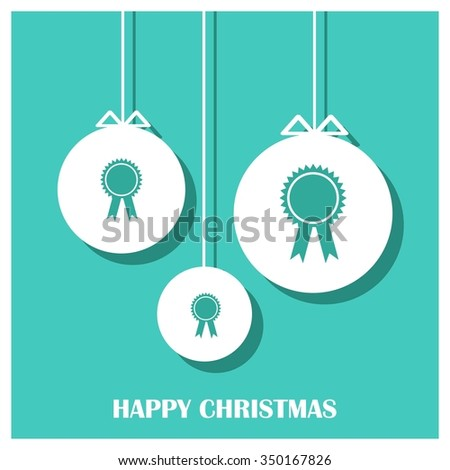 Holiday background with Ribbon gift bow Christmas decorative template Design, Christmas New Year Flat card illustration  - stock vector