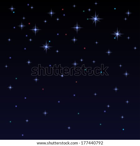 Holiday background with shiny stars in the dark sky. Starry sky. Black, blue color - vector  - stock vector