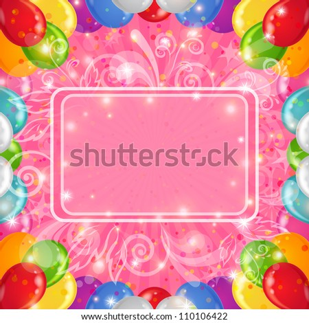 Holiday background with various color balloons, frame and patterns on pink. Vector eps10, contains transparencies - stock vector
