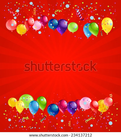 Holiday balloons on red background with place for text. - stock vector
