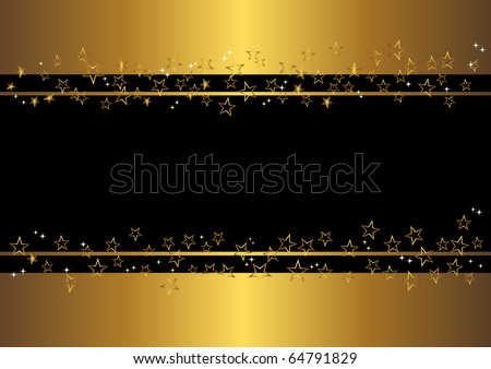 holiday banner with gold stars. vector. - stock vector