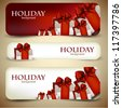 Holiday banners with beautiful gifts. Vector illustration - stock photo