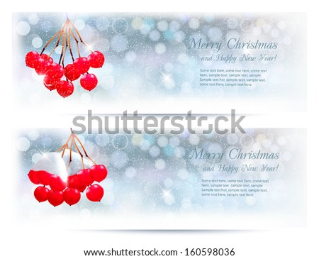 Holiday banners with Christmas branch with red berries. Vector illustration.