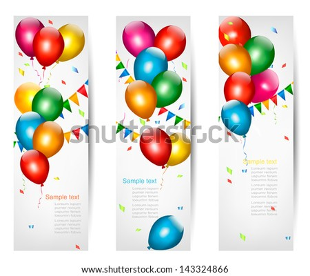 Holiday banners with colorful balloons. Vector. - stock vector