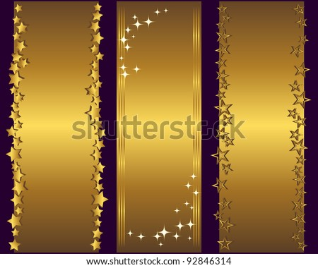 Holiday banners with gold stars. Vector Illustration. - stock vector