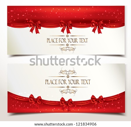 Holiday banners with red silk bows - stock vector