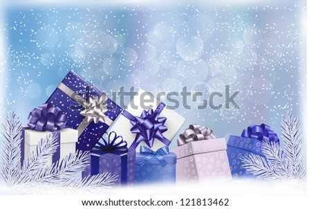 Holiday blue background with gift boxes and tree branches. Vector illustration. - stock vector