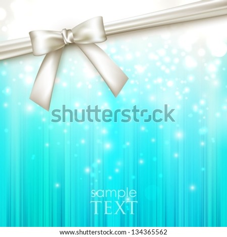 holiday blue background with white bow - stock vector