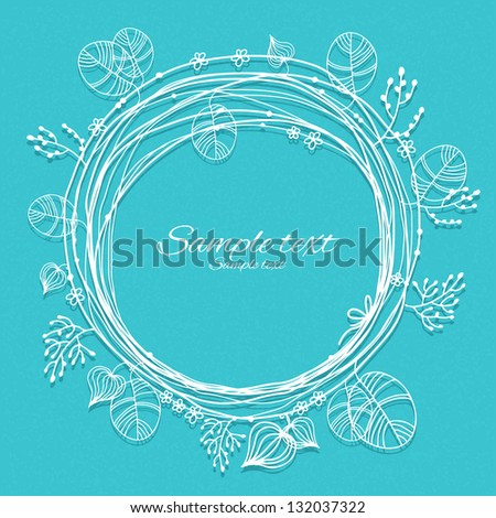 Holiday blue background with white floral frame and place for text - vector - stock vector