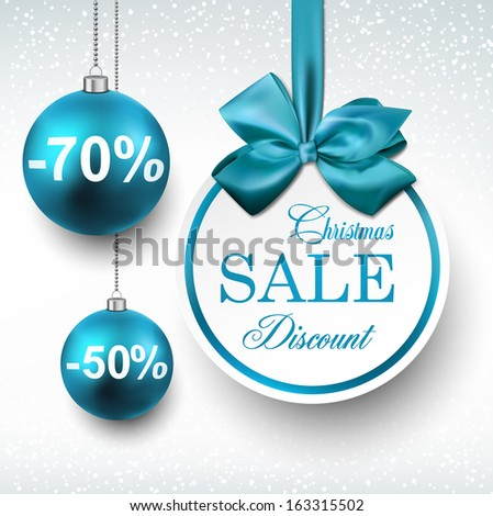 Holiday blue paper round labels. Christmas sale balls. Vector illustration.  - stock vector