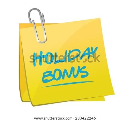 holiday bonus memo post illustration design over a white background - stock vector