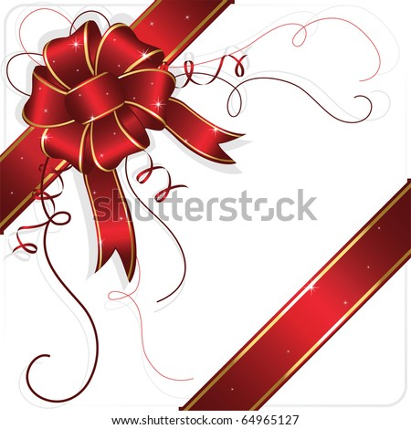 Holiday bow and ribbon, illustration - stock vector