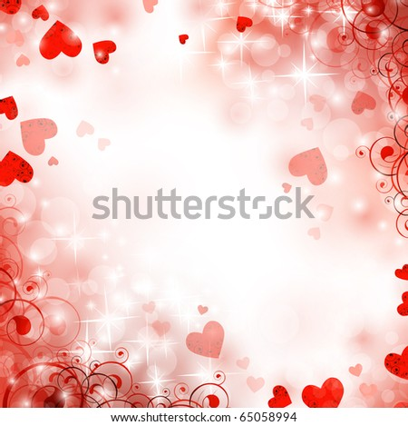 holiday bright winter background with hearts and stars - stock vector