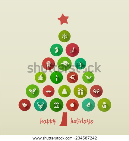 Holiday Card, Christmas tree from flat Icons - stock vector