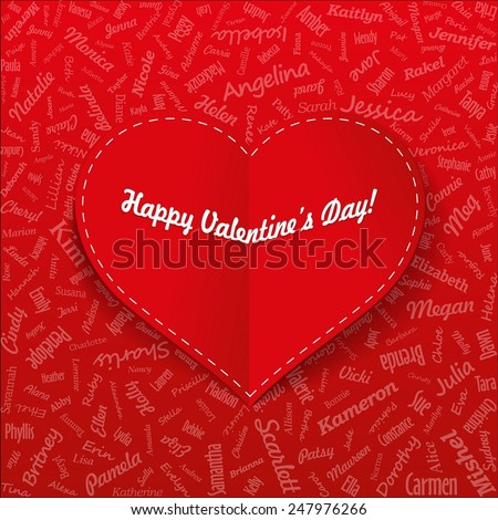 Holiday Card. Heart from famous woman's names with title. Valentines day. (vector) - stock vector