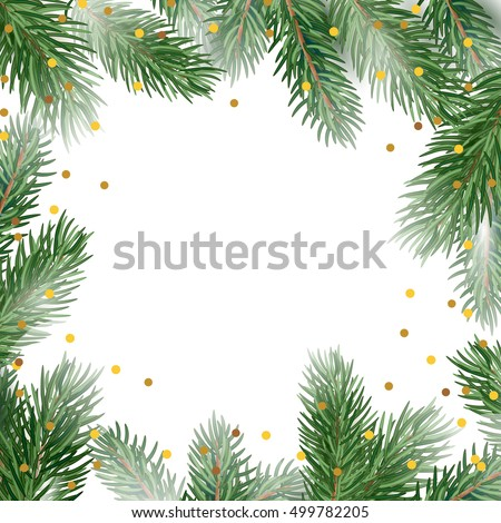 Holiday Card Template Fir Tree Branches Stock Vector