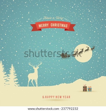 Holiday Card, winter landscape with reindeer, gifts, trees, snow, flying reindeer and red banner