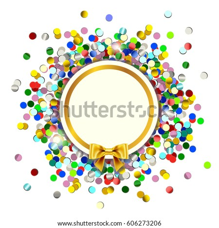Holiday card with a scattering of confetti, a Golden bow text place.