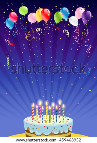 Holiday card with cake - stock vector