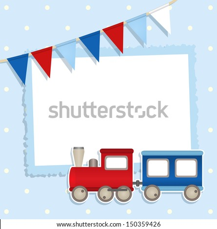 Holiday card with festive flags and sticker train and place for your text or photo - stock vector