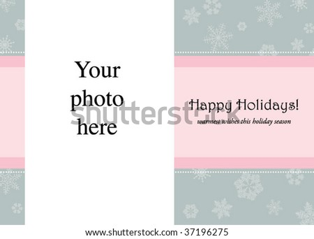 holiday card with snowflakes on gray and pink background - stock vector