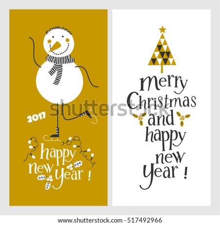 Holiday cards - Marry Christmas and Happy New Year