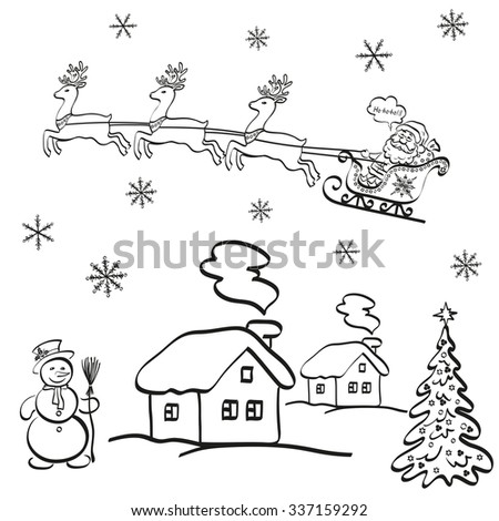 Holiday Cartoon, Santa Claus Flying in a Snowy Sky in a Sleigh with Reindeer on a Landscape with Christmas Tree, a Snowman and Houses. Black Contours on White Background. Vector - stock vector