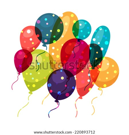 Holiday celebration background with shiny colored balloons. - stock vector