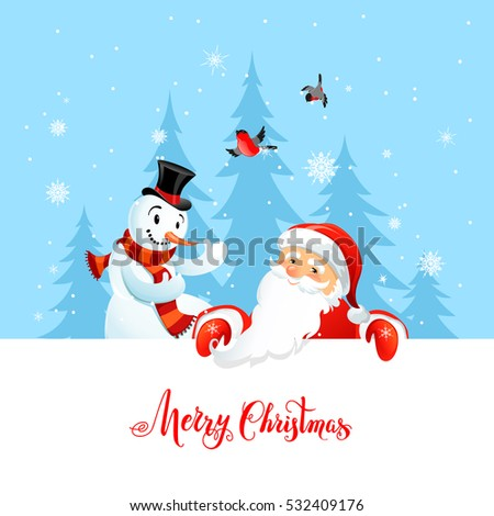 Holiday Christmas background for banners, advertising, leaflet, cards, invitation and so on. Santa Claus, snowman cartoon characters. Handwritten Christmas Inscription.