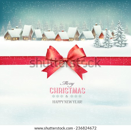 Holiday Christmas background with a village and a red gift ribbon. Vector.  - stock vector