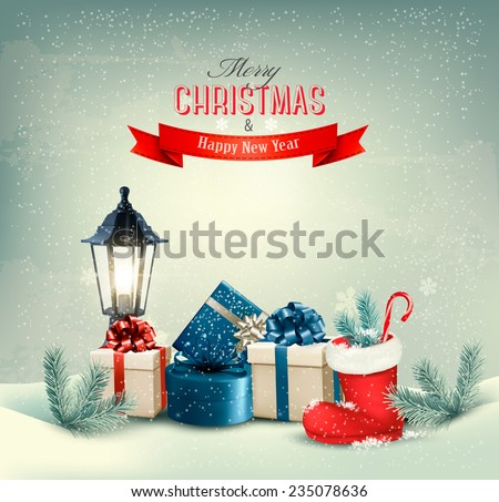 Holiday Christmas background with gift boxes and a boot. Vector.  - stock vector