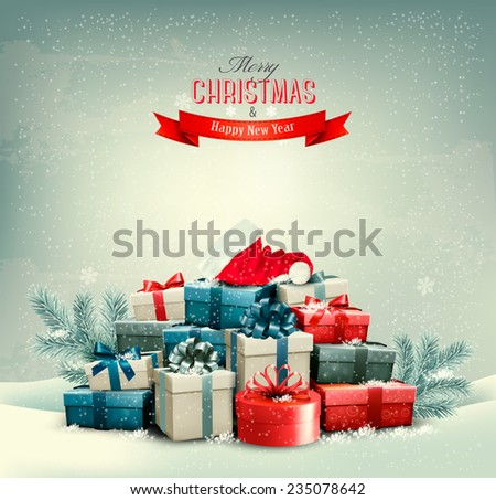 Holiday Christmas background with gift boxes and a santa hat. Vector.  - stock vector