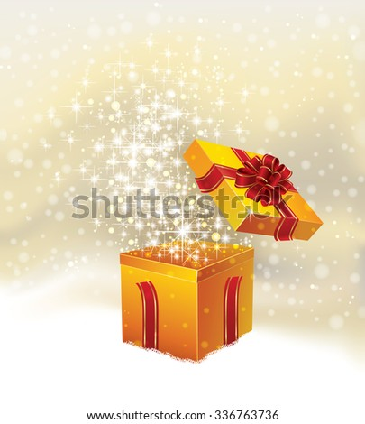 Holiday Christmas background with open gift