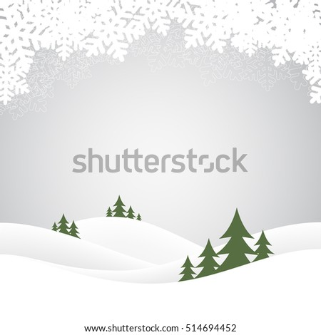 Holiday christmas background with winter landscape. Vector illustration