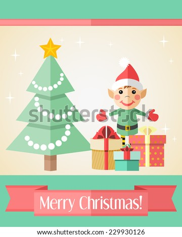 Holiday Christmas card with elf standing near fir tree and gifts - stock vector