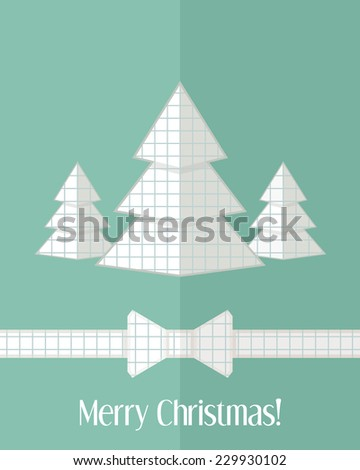 Holiday Christmas card with group of three paper cut fir trees and bow - stock vector