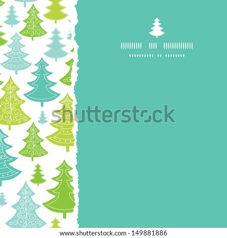 Holiday Christmas trees square torn seamless pattern background - stock vector