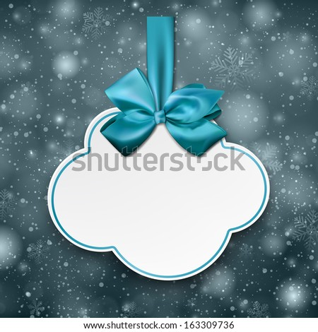 Holiday cloud gift card with blue ribbons and satin bows. Vector illustration.  - stock vector