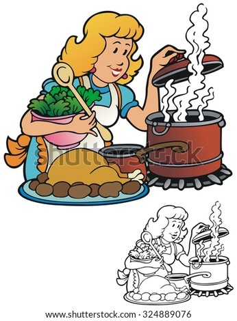Holiday cooking for the whole family - stock vector