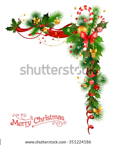 Holiday decorations with Christmas tree, holly and candy cane.Festive corner for design card, banner,ticket, leaflet and so on. - stock vector