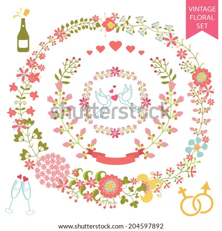 Holiday design template set  in Retro style with floral wreath,icons, ribbon. For Wedding  or Valentine day invitation, postcard, greeting card, cover.Festive celebration vector. - stock vector