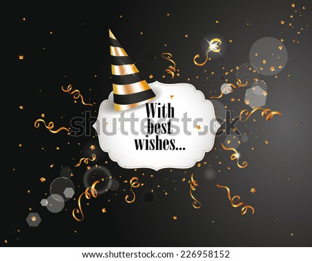 Holiday elegant background with gold confetti and party hat - stock vector