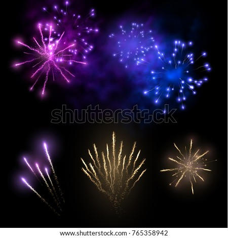 Holiday fireworks effects vector collection. Can be used for New Year party or Christmas greeting cards. EPS10