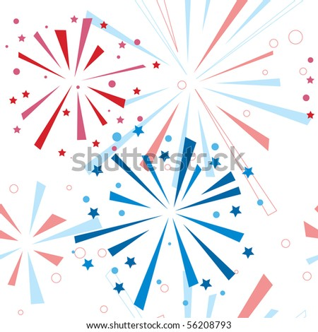Holiday fireworks seamless pattern. Vector illustration - stock vector